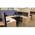 Blonde 4 Piece C / U Suite Desk with Overhead Storage