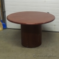 "Med Wood Grain 42"" Round Conference Meeting Table w Column Base"