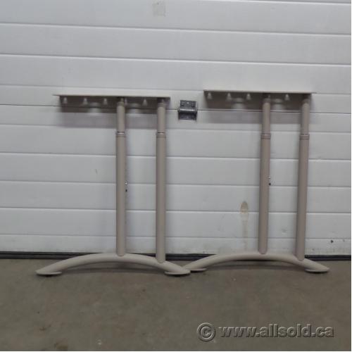 Pair Of Teknion Brand Beige Metal Height Adjustable Table Legs