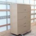 "Brown 42"" 4 Drawer Flip Front Lateral File Cabinet, Locking"