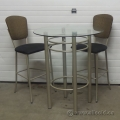 Glass Top Bistro Table Taupe Alum Base Counter Tall