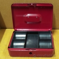 "5 Slot Red Metal Coin Box 10"" x 7"""