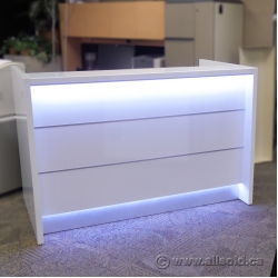 MDD VALDE Linear Reception Desk, White, with LED Lighted Front