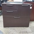 Espresso 4 Drawer Double Wide File and Storage Pedestal