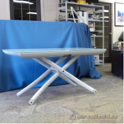White Glass Top Height Adjustable and Extendable Table