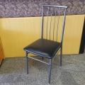 Grey Amisco ALAN Metal Kitchen Chair w/ Leather Seat