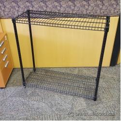 "Two Shelf Wire Shelving Unit - 36 x 14 x 34"", Black"
