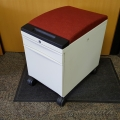 White Teknion 2 Drawer Rolling Pedestal w/ Red Cushion