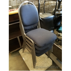 Blue Stacking Meeting Chairs w/ Grey Frame