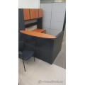 Autumn Maple and Black L Reception Desk w Transaction Counter