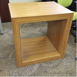 Brown Tiger Stripe Side End Table w/ Square Storage Opening
