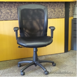 Black Leather Mesh Back Adjustable Task Chair