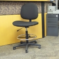 Black Height Adjustable Rolling Drafting Stool Chair w/o Arms