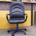 Black Leather High Back Adjustable Rolling Chair