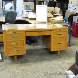 Vintage Oak Double Pedestal Teachers Style Desk (Price Reduced!)