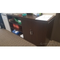 "Espresso 72""  Counter High Credenza Open & Closed"