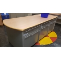 Millwork Blonde/Grey Island Counter Dual Side Cabinets & Drawers
