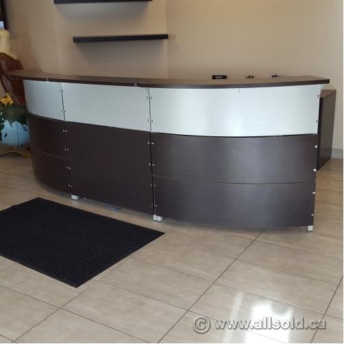 Artopex Espresso Grey Rounded Reception Desk Ped Credenza