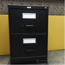 Staples Black 2 Drawer Vertical Letter File Cabinet, Locking