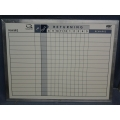 "Lined Whiteboards 36"" x 24"" w/ Various Options, In/Out, Date"