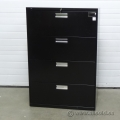 HON Black 4 Drawer Lateral File Cabinet, Locking