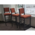 Dark Brown Metal Frame Bar Stool w/ Orange Fabric Seat Pillow