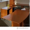 Maple Curved Rolling Desk, Printer Cart