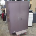 Grey Steelcase 2 Door Metal Wardrobe Storage Cabinet Locking