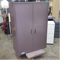 Grey Steelcase 2 Door Metal Wardrobe Storage Cabinet Locking