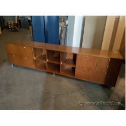 Light Brown Walnut Wood 8 ft Credenza w/ Drawer Storage