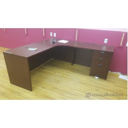 Mahogany L-Suite Desk w/ Single 3 Drawer Pedestal 72x72 inch