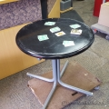 """Black 30"""" Round Meeting Table w/ Metal Legs, Card Occasion Lamp"""