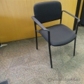 Black Stacking Guest Side Chair w Metal Frame, Full Arms