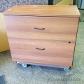 Dark Cherry Wood 2 Drawer Lateral Cabinet