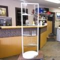 White Metal Display Stand w/ x4 Round Glass Shelves