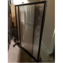 Black Expandable Rolling Translucent Panel Office Room Divider
