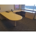 Blonde Washed Oak U / C Suite Desk w/ Bullet Runoff, Storage