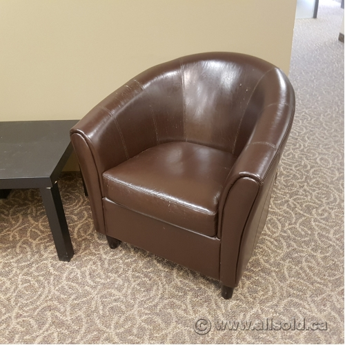 Brown Leather Guest Reception Tub Chair - Allsold.ca - Buy & Sell ...