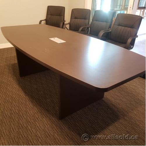 Espresso Dark Brown Tapered Boardroom Table With Power Allsold - Boardroom table with power
