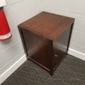 Dark Wood End Table Enclosed Storage Cabinet