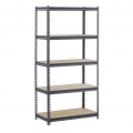 Steel Commercial Shelving Unit w/ Grey Wood Shelves