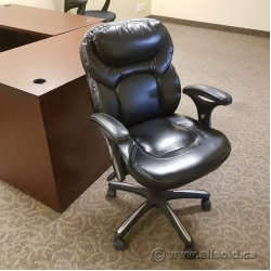 Black Leather Rolling Task Chair w/ White Thread Trim