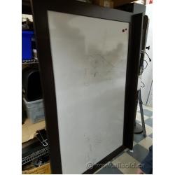 "Espresso Wood Frame Magnetic Whiteboard w/ Marker Tray 60"" x 48"""
