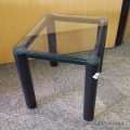 Glass Surface End Table Black Metal Base