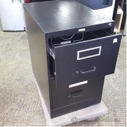 Staples Black 2 Drawer Vertical Legal File Cabinet, Locking