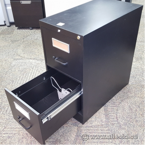 Staples Black 2 Drawer Vertical Letter File Cabinet Locking