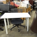 "Ikea White Table 40"" x 24"" w/ Fixed Metal Tube Legs"