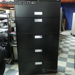 Hon Black 5 Drawer Lateral File Cabinet, Flip Front Top, Locking