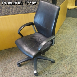 Black Leather High Back Task  Meeting Chair Arms