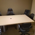 Large Boardroom Table 8 FT, Dual Stainless Steel Barrel Legs